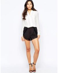Lipsy | Black Michelle Keegan Loves Shorts With Crochet Trim | Lyst