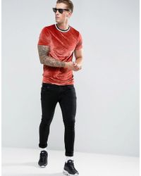ASOS - Red Muscle T-shirt In Velour With Neck Tipping for Men - Lyst