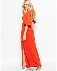Love - Orange Kimono Maxi Dress With Open Back And Thigh Split - Lyst