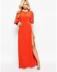 Love | Orange Kimono Maxi Dress With Open Back And Thigh Split | Lyst