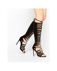 ASOS | Black Half-time Lace Up Heeled Sandals | Lyst