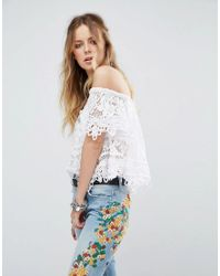 6063135aa53a8e Free People Sweet Dreams Lace Off Shoulder Crop Top in White - Lyst