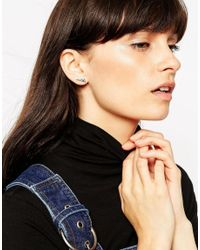 ASOS - Metallic Sterling Silver Triangle Etched Earrings - Lyst