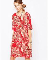 Ichi   Red Garden Print Short Sleeve Shift Dress   Lyst