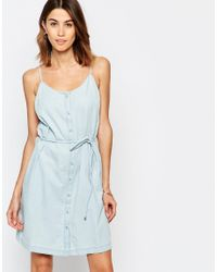 Vila - Blue Denim Dress With Tie Waist - Lyst