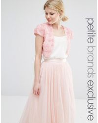 John Zack | Pink 3d Floral Bolero | Lyst