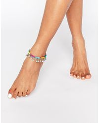 ASOS - Multicolor Pack Of 2 Rainbow And Bead Anklets - Lyst