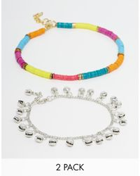 ASOS | Multicolor Pack Of 2 Rainbow And Bead Anklets | Lyst