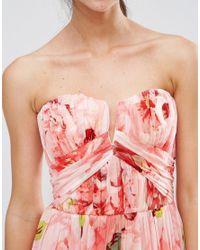 ASOS Multicolor Wedding Floral Printed Ruched Bandeau Mesh Maxi Dress