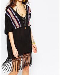Liquorish - Black Multi Embroidered Tassel T-shirt Dress - Lyst