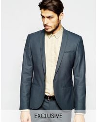 Noak | Gray Suit Jacket With Peak Lapel In Super Skinny Fit for Men | Lyst