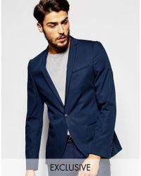 Noak | Blue Cotton Blazer In Super Skinny Fit for Men | Lyst