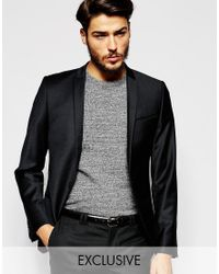 Noak - Black Flannel Wool Blazer In Super Skinny Fit for Men - Lyst