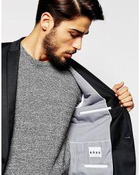 Noak - Black Flannel Wool Blazer In Super Skinny Fit for Men - Lyst