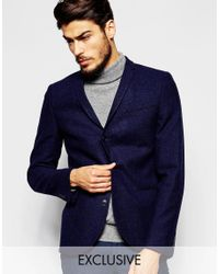 Noak | Blue Textured Navy Tweed Blazer In Super Skinny Fit for Men | Lyst