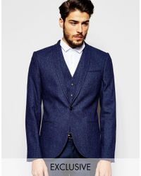 Noak | Blue Wool Blazer In Super Skinny Fit With Fleck for Men | Lyst