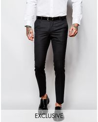 Heart & Dagger - Black Suit Pants In Birdseye Fabric In Super Skinny Fit for Men - Lyst