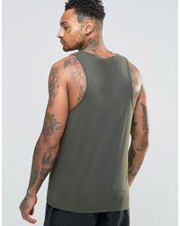 ASOS - Green Tank In Khaki for Men - Lyst