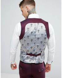 Noose And Monkey Red Super Skinny Suit Waistcoat In Texture for men