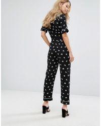 Warehouse - Black Dandy Print Mono Jumpsuit - Lyst