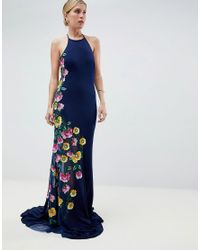 a25d3f83fd Jovani Maxi Dress With Embroided Side Detail in Blue - Lyst