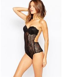 Fashion Forms | Black Lace Backless Strapless Bodysuit | Lyst