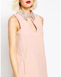 ASOS - Pink Embellished Collar Scuba Shift Mini Dress - Lyst
