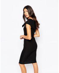 Vesper - Origami Detail Plunge Front Midi Dress - Black - Lyst