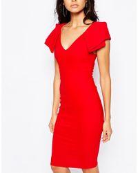 Vesper - Red Origami Detail Plunge Front Midi Dress - Lyst