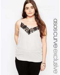 ASOS | Gray Curve Cami With Lace Detail | Lyst