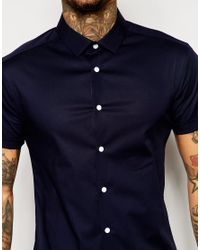 ASOS - Blue Skinny Shirt With Short Sleeves In Navy for Men - Lyst