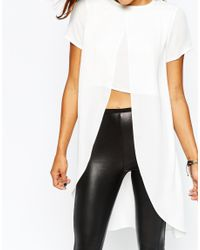 Missguided - Natural Crepe Split Front Crop Top - Lyst