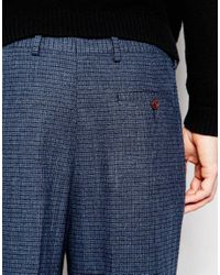 ASOS - Wide Leg Smart Trousers In Dogstooth In Blue for Men - Lyst