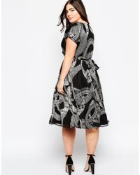 ASOS | Black Curve Wrap Dress In Mono Print | Lyst