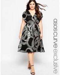 ASOS | Black Curve Wrap Dress In Mono Print | Lyst