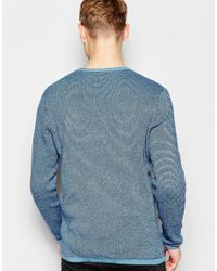 Jack & Jones - Blue Knitted Jumper In Mixed Yarns for Men - Lyst