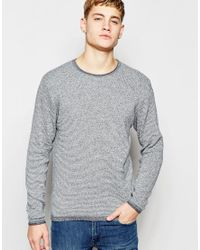 Jack & Jones | Blue Knitted Jumper In Mixed Yarns for Men | Lyst