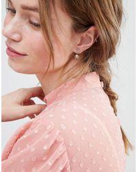 ASOS DESIGN - Pink Jewel Swing Earrings - Lyst