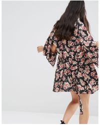 Band Of Gypsies - Multicolor Throw On Belted Jacket In Romantic Floral Print - Lyst