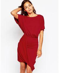ASOS - Pink Wrap Twist T Shirt Mini Dress - Lyst