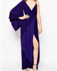 ASOS - Blue Asymmetric Drape Kimono Maxi Dress - Lyst