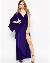 ASOS | Blue Asymmetric Drape Kimono Maxi Dress | Lyst