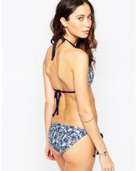 South Beach - Blue Outh Beach Ditsy Floral Halter Tie Side Bikini Bottoms - Lyst