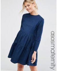 ASOS - Denim Smock Dress In Darkwash Blue - Lyst