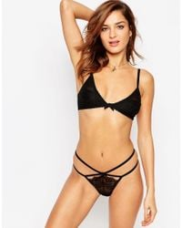 ASOS - Black 3 Pack Strappy Thong With Eyelash Lace - Lyst