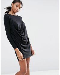 ASOS - Black Long Sleeve Drape Front T-shirt Dress - Lyst