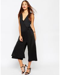 ASOS | Black Jumpsuit With Wrap Front Detail | Lyst