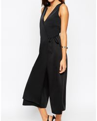 ASOS - Black Jumpsuit With Wrap Front Detail - Lyst