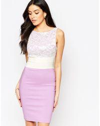 Vesper - Multicolor Hazel Midi Dress With Lace Top - Lyst