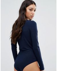 Ganni - Blue Cross Front Bodysuit In Navy - Lyst